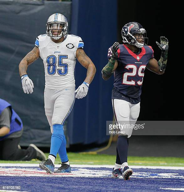 Eric Ebron of the Detroit Lions reacts after Andre Hal of the Houston Texans was called for pass interference at NRG Stadium on October 30, 2016 in...