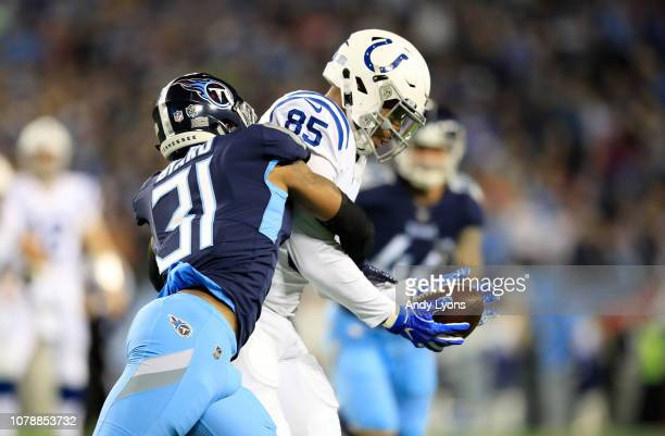 Eric Ebron of the Indianapolis Colts catches the ball against the Tennessee Titans at Nissan Stadium on December 30 2018 in Nashville Tennessee