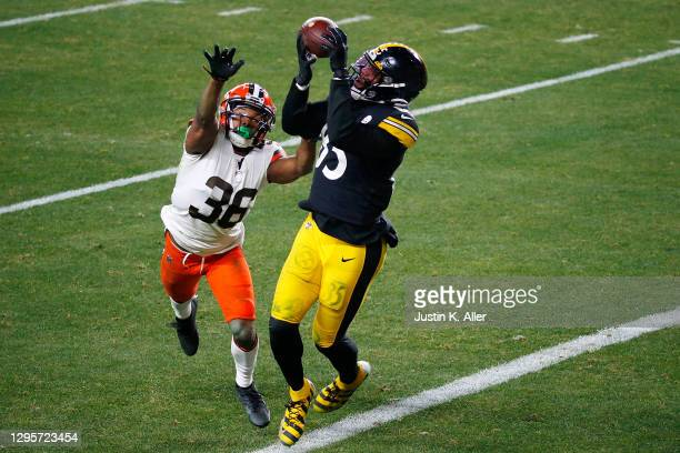 Eric Ebron of the Pittsburgh Steelers catches a pass for a touchdown in front of M.J. Stewart of the Cleveland Browns during the second half of the...