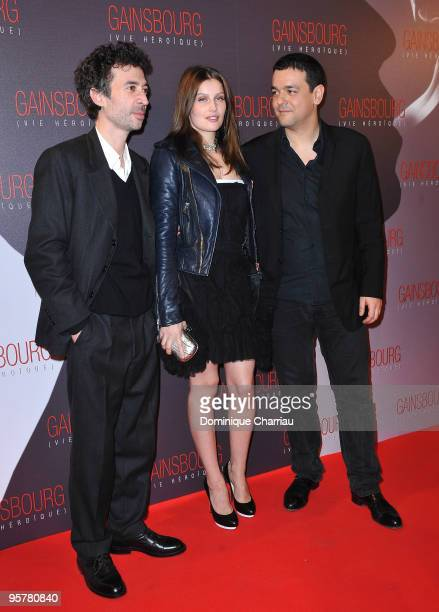 Eric Elmosnino Laetitia Casta and Director Joann Sfar attend the premiere of ''Gainsbourg'' at the Cinema Gaumont Opera on January 14 2010 in Paris...