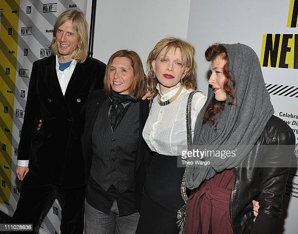 Eric Erlandson Patty Schemel Courtney Love and Melissa auf der of Hole attend the 2011 New Directors/New Films screening of Hit So Hard at The Museum...