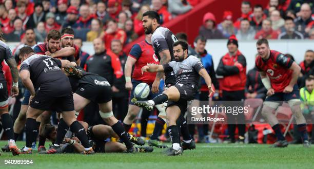 Eric Escande of Toulon clears the ball upfield during the European Rugby Champions Cup match between Munster Rugby and RC Toulon at Thomond Park on...
