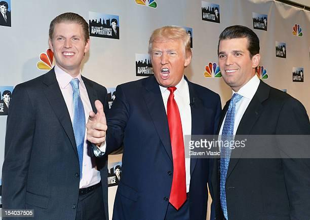 Eric F Trump Donald Trump and Donald Trump Jr attend the Celebrity Apprentice All Stars Season 13 Press Conference at Jack Studios on October 12 2012...