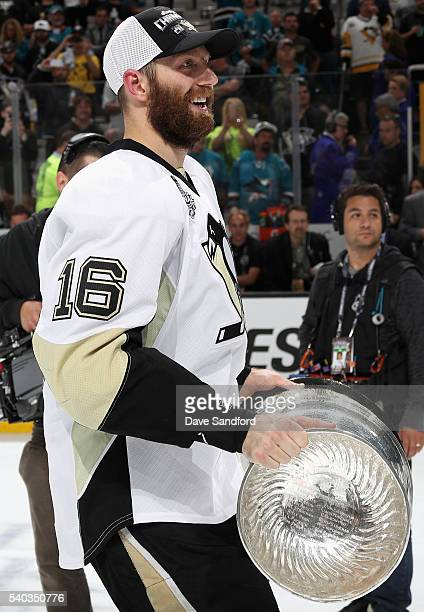 Eric Fehr of the Pittsburgh Penguins celebrates with the Stanley Cup after the Penguins won Game 6 of the 2016 NHL Stanley Cup Final over the San...