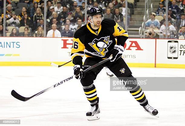 Eric Fehr of the Pittsburgh Penguins in action during the game against the Montreal Canadiens at Consol Energy Center on November 11 2015 in...