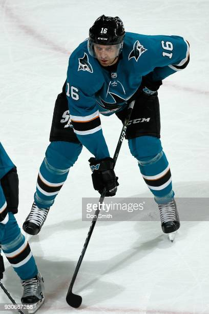 Eric Fehr of the San Jose Sharks looks during a NHL game against the Washington Capitols at SAP Center on March 10 2018 in San Jose California