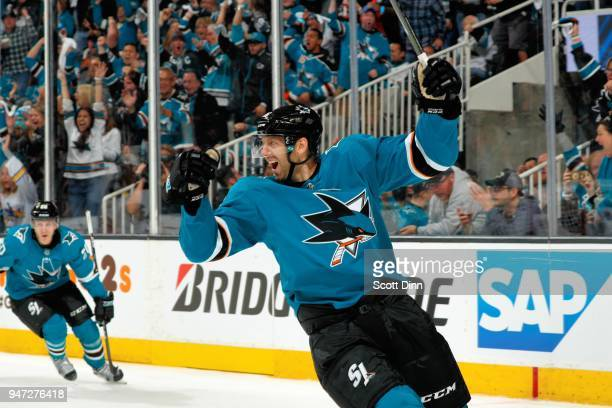 Eric Fehr of the San Jose Sharks reacts after scoring a goal in the second period against the Anaheim Ducks in Game Three of the Western Conference...