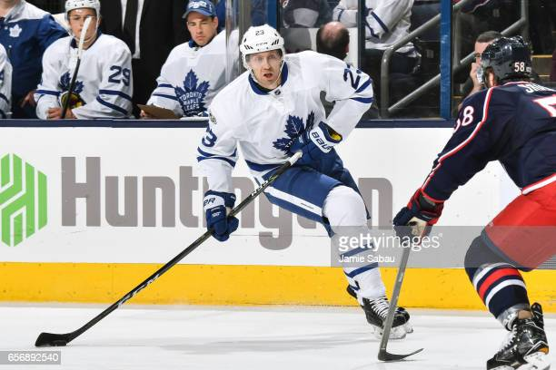 Eric Fehr of the Toronto Maple Leafs skates against the Columbus Blue Jackets on March 22 2017 at Nationwide Arena in Columbus Ohio