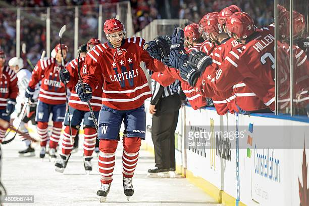 Eric Fehr of the Washington Capitals celebrates after scoring against the Chicago Blackhawks in the first period of the 2015 Bridgestone NHL Winter...