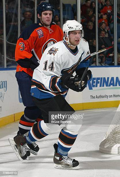 Eric Fehr of the Washington Capitals skates against the New York Islanders on November 25, 2006 at the Nassau Coliseum in Uniondale, New York. The...