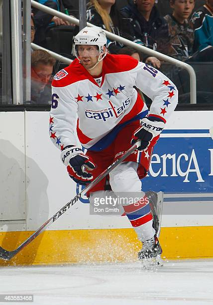 Eric Fehr of the Washington Capitals skates up the ice against the San Jose Sharks during an NHL game on February 11 2015 at SAP Center in San Jose...
