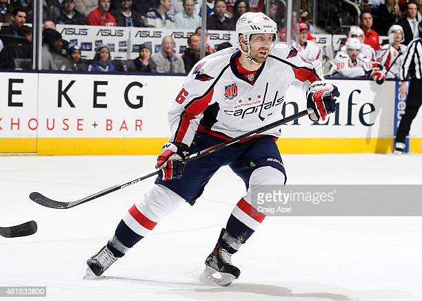 Eric Fehr of the Washington Capitals skates up the ice during game action against the Toronto Maple Leafs on January 7 2015 at Air Canada Centre in...
