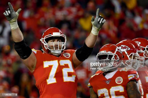Eric Fisher of the Kansas City Chiefs celebrates the 5131 win over the Houston Texans in the AFC Divisional playoff game Arrowhead Stadium on January...