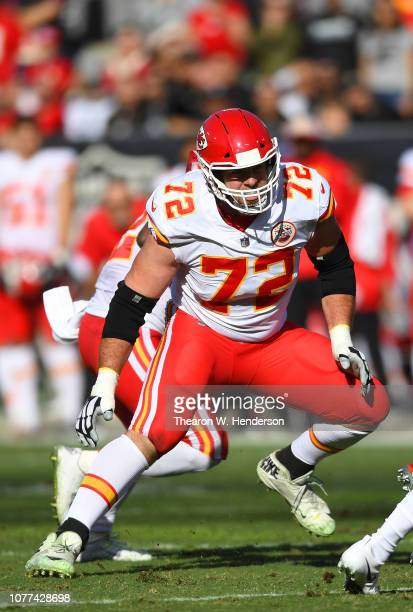 Eric Fisher of the Kansas City Chiefs in action against the Oakland Raiders during the first half of an NFL football game at OaklandAlameda County...