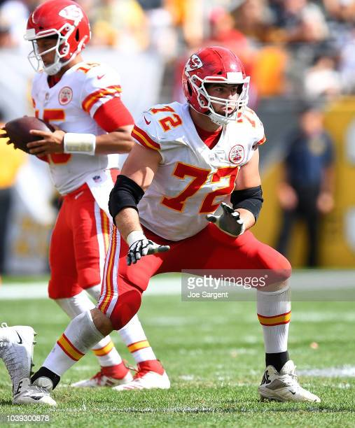 Eric Fisher of the Kansas City Chiefs in action during the game against the Pittsburgh Steelers at Heinz Field on September 16 2018 in Pittsburgh...