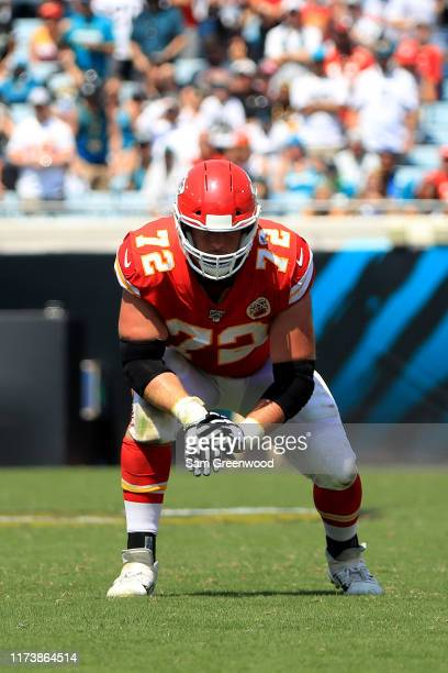 Eric Fisher of the Kansas City Chiefs lines up during the game against the Jacksonville Jaguars at TIAA Bank Field on September 08 2019 in...