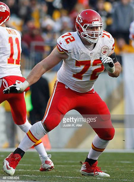 Eric Fisher of the Kansas City Chiefs plays against the Pittsburgh Steelers on December 21 2014 at Heinz Field in Pittsburgh Pennsylvania