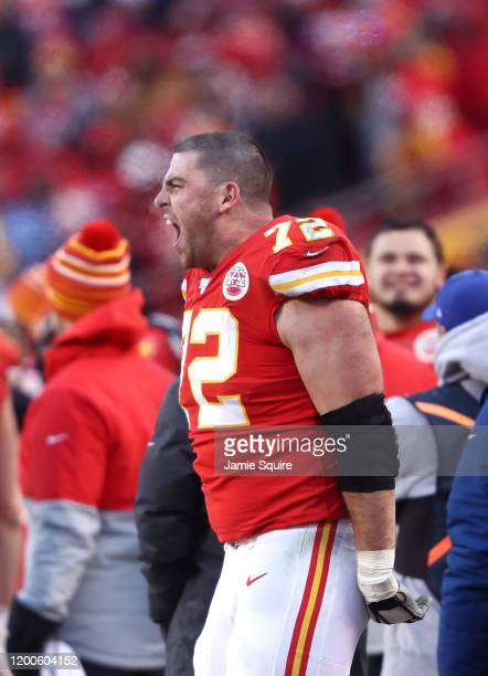 Eric Fisher of the Kansas City Chiefs reacts late in the game against the Tennessee Titans in the AFC Championship Game at Arrowhead Stadium on...