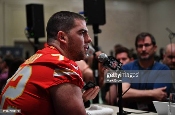 Eric Fisher of the Kansas City Chiefs speaks to the media during the Kansas City Chiefs media availability prior to Super Bowl LIV at the JW Marriott...