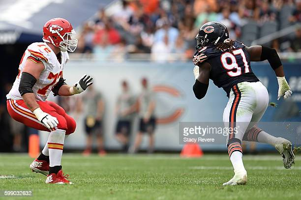 Eric Fisher of the Kansas City Chiefs works against Willie Young of the Chicago Bears during a game at Soldier Field on August 27 2016 in Chicago...