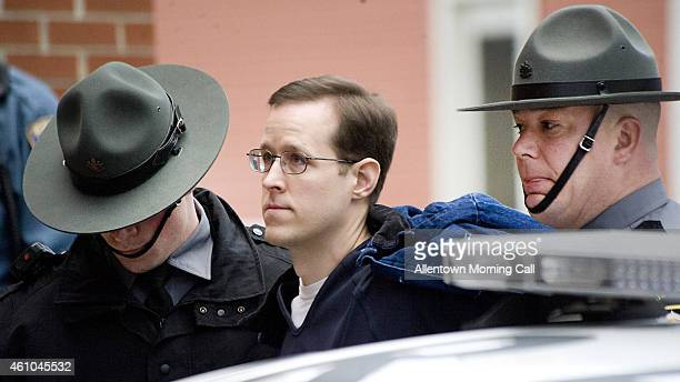 Eric Frein is escorted to a preliminary hearing on Monday Jan 5 2015 at the Pike County Courthouse in Milford Pa Frein of Canadensis is the lone...