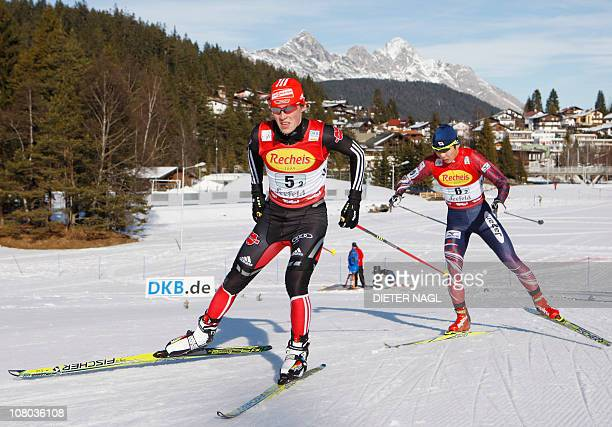 Eric Frenzel from Germany and Taihei Kato from Japan compete in the Nordic Combined World Cup team race in Seefeld some 500 kilometres west of Vienna...