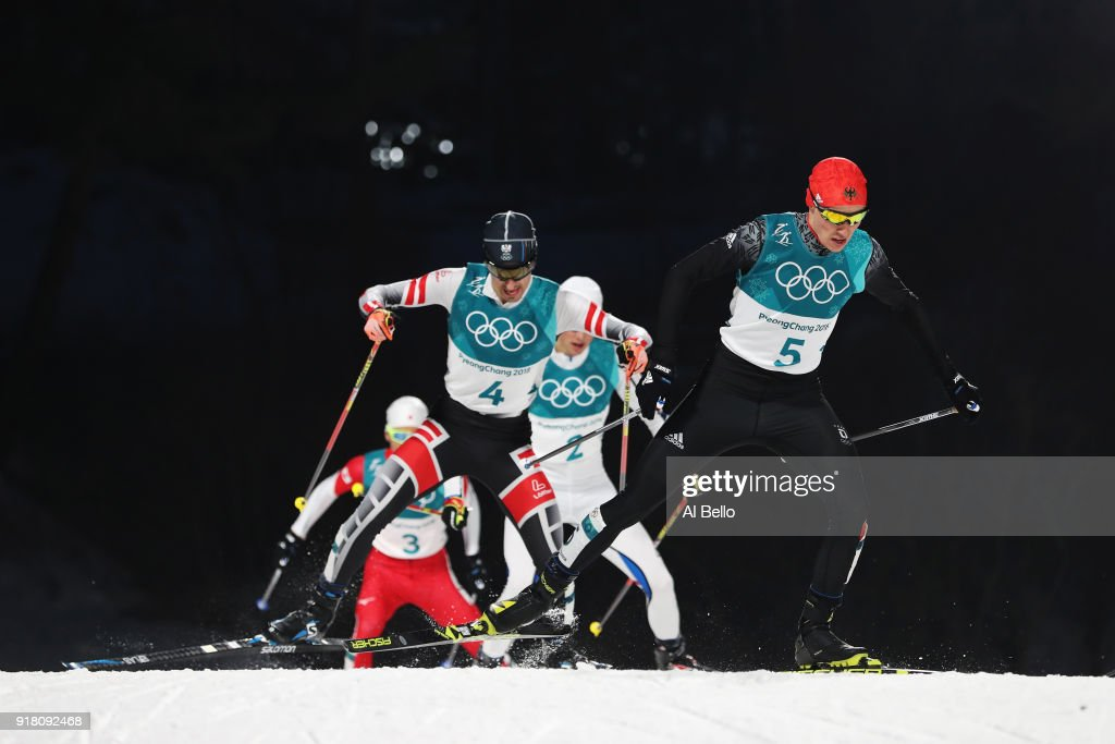 Eric Frenzel of Germany (5) and Lukas Klapfer of Austria (4) compete during the Nordic Combined Individual Gundersen Normal Hill and 10km Cross Country on day five of the PyeongChang 2018 Winter Olympics at Alpensia Cross-Country Centre on February 14, 2018 in Pyeongchang-gun, South Korea.