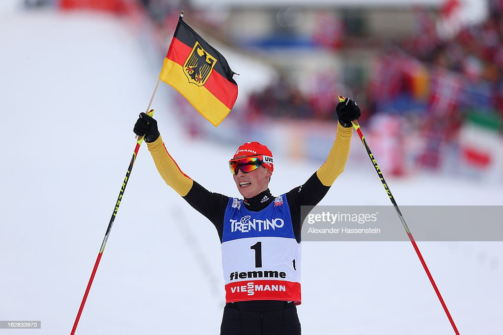 Eric Frenzel of Germany celebrates victory in the Men's Nordic Combined Individual Gundersen 10Km at the FIS Nordic World Ski Championships on February 28, 2013 in Val di Fiemme, Italy.