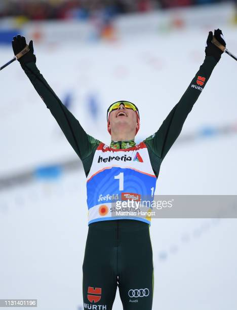 Eric Frenzel of Germany celebrates winning the Nordic Combined Competition of the FIS Nordic World Ski Championships on February 22, 2019 in Seefeld,...