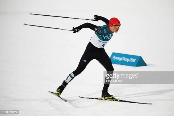 Eric Frenzel of Germany competes during the Nordic Combined Individual Gundersen Normal Hill and 10km Cross Country on day five of the PyeongChang...