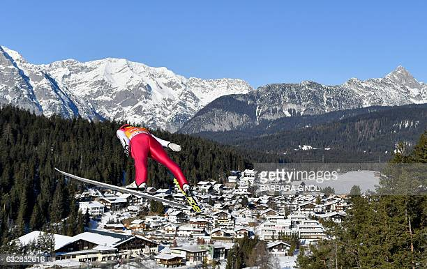 Eric Frenzel of Germany competes during the ski jumping competition of the Men's Nordic Combined FIS World Cup in Seefeld Austria on January 27 2017...