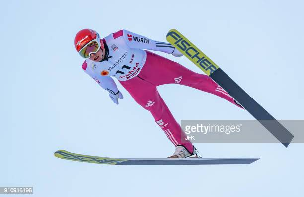 Eric Frenzel of Germany competes during the Ski jumping competition of the Seefeld Nordic Combined Triple at FIS Nordic Combined World Cup in Seefeld...