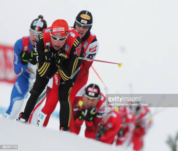 Eric Frenzel of Germany competes in the Gundersen 10km Cross Country event during day two of the FIS Nordic Combined World Cup on January 31 2010 in...