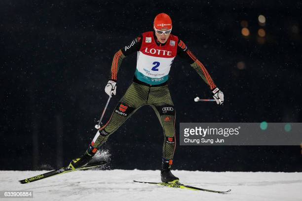 Eric Frenzel of Germany competes in the Individual Gundersen 10km Large Hill during the FIS Nordic Combined World Cup presented by Viessmann Test...