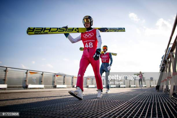 Eric Frenzel of Germany is seen during the Nordic Combined Individual Gundersen NH/10km official training on February 12, 2018 in Pyeongchang-gun,...