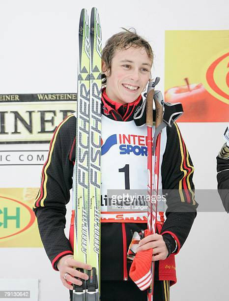 Eric Frenzel of Germany reacts after the sprint race of the FIS Nordic Combined World Cup event on January 20, 2008 in Klingenthal, Germany.