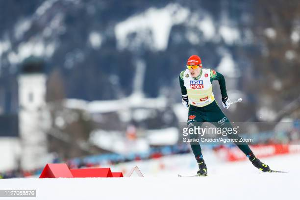 Eric Frenzel of Germany takes 1st place during the FIS Nordic World Ski Championships Men's Nordic Combined Team HS130 on February 24, 2019 in...