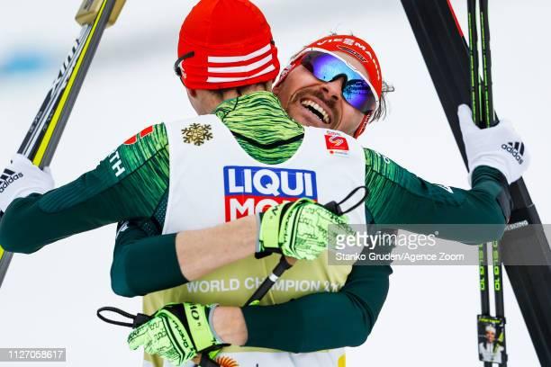 Eric Frenzel of Germany takes 1st place, Fabian Riessle of Germany takes 1st place during the FIS Nordic World Ski Championships Men's Nordic...
