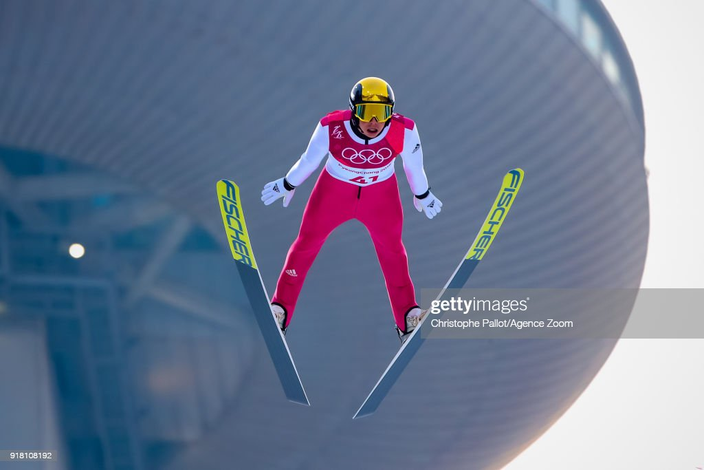 Eric Frenzel of Germany wins the gold medal during the Nordic Combined Normal Hill/10km at Alpensia Cross-Country Centre on February 14, 2018 in Pyeongchang-gun, South Korea.
