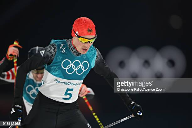Eric Frenzel of Germany wins the gold medal during the Nordic Combined Normal Hill/10km at Alpensia Cross-Country Centre on February 14, 2018 in...