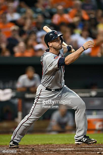 Eric Fryer of the Minnesota Twins bats against the Baltimore Orioles at Oriole Park at Camden Yards on August 29 2014 in Baltimore Maryland The...