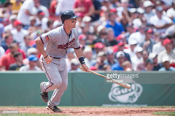 Eric Fryer of the Minnesota Twins bats during the game against the Boston Red Sox at Fenway Park in Boston Massachusetts on June 18 2014