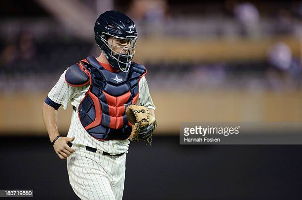 Eric Fryer of the Minnesota Twins looks on during the game against the Oakland Athletics on September 11 2013 at Target Field in Minneapolis Minnesota