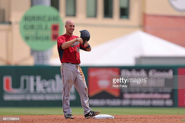 Eric Fryer of the Minnesota Twins reacts after stealing second base during the second inning of the game against the Miami Marlins at Roger Dean...
