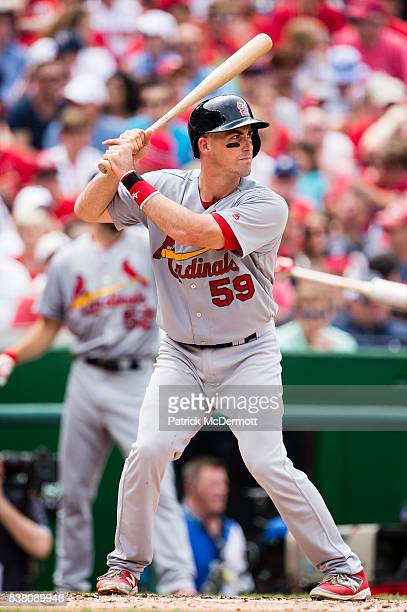 Eric Fryer of the St Louis Cardinals bats in the fourth inning during a MLB baseball game against the Washington Nationals at Nationals Park on May...