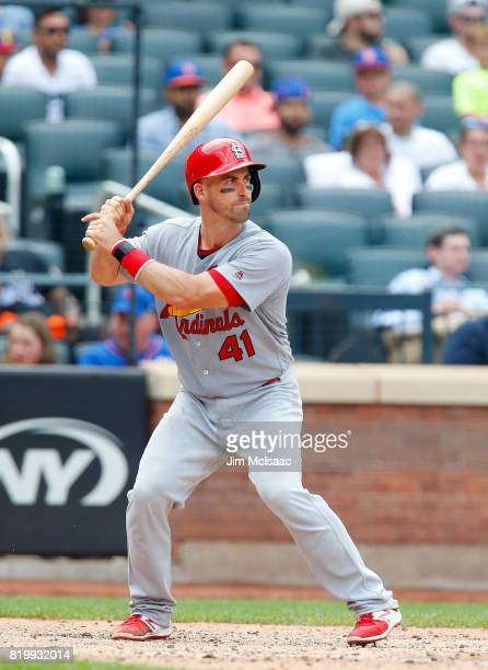 Eric Fryer of the St Louis Cardinals in action against the New York Mets at Citi Field on July 20 2017 in the Flushing neighborhood of the Queens...