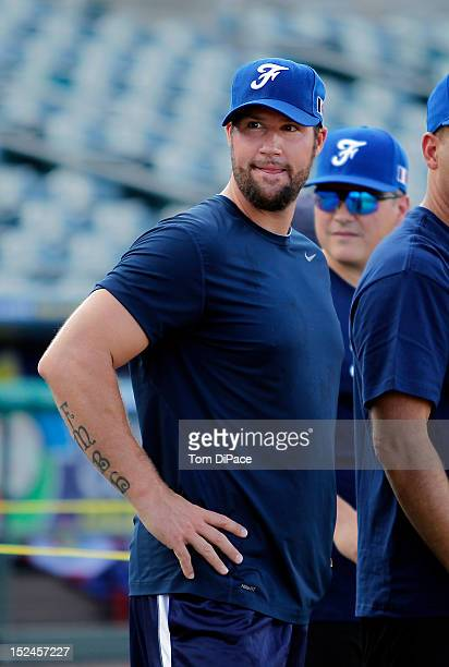 Eric Gagne of Team France talks to his team during the workout for the World Baseball Classic Qualifier at Roger Dean Stadium on September 18, 2012...