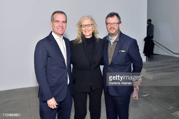 Eric Garcetti Annie Leibovitz and Iwan Wirth attend Hauser Wirth Los Angeles Opening of Annie Leibovitz and Piero Manzoni and Musical Performance by...