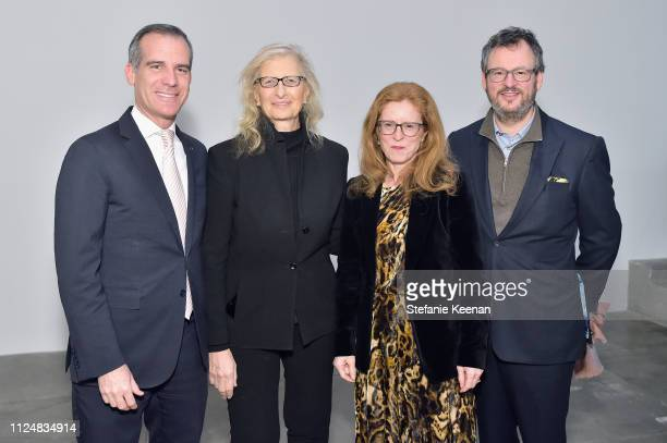 Eric Garcetti Annie Leibovitz Manuela Wirth and Iwan Wirth attend Hauser Wirth Los Angeles Opening of Annie Leibovitz and Piero Manzoni and Musical...