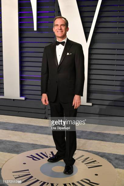Eric Garcetti attends the 2019 Vanity Fair Oscar Party hosted by Radhika Jones at Wallis Annenberg Center for the Performing Arts on February 24 2019...